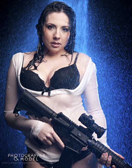 Shawna In Shower With Rifle